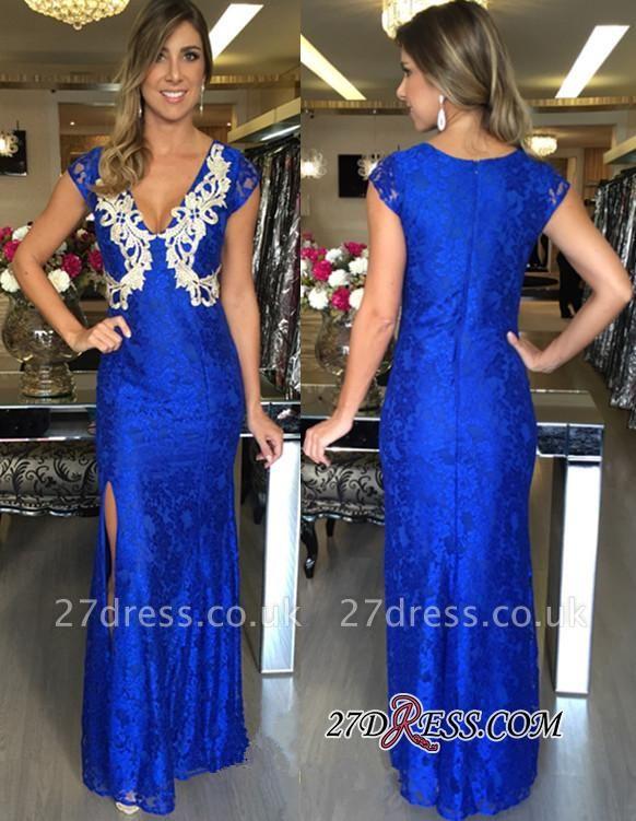 Applique Mermaid V-Neck Split Royal-Blue Zipper Long Elegant Prom Dress UKes UK