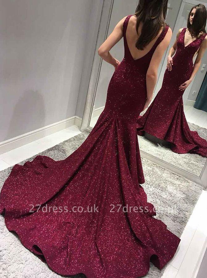Burgundy sequins prom Dress UK, long mermaid formal gowns BA8313
