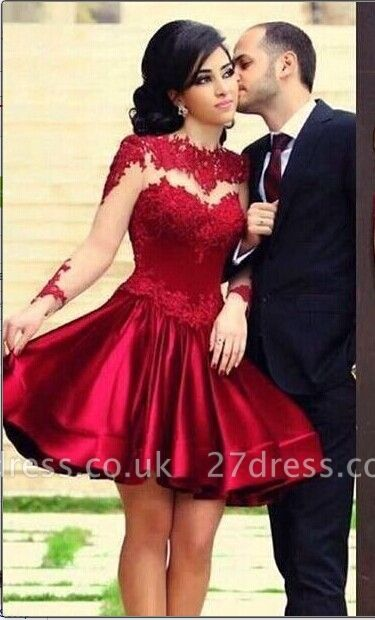 New Knee Length Lace Satin Homecoming Dress UKes UK Long Sleeves High Neck Sheer Party Gowns