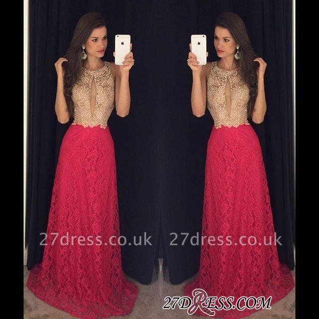 Lace Sweep-Train Sleeveless Newest Jewel Long Prom Dress UK