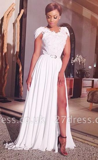 Elegant V-neck Cap Sleeve Chiffon Prom Dress UK With Front Split Appliques BO9515 BK0