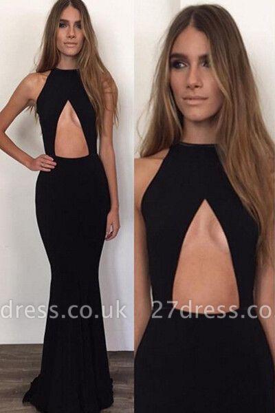 Elegant Black Sleeveless Prom Dress UKes UK Long Mermaid Prom Gown