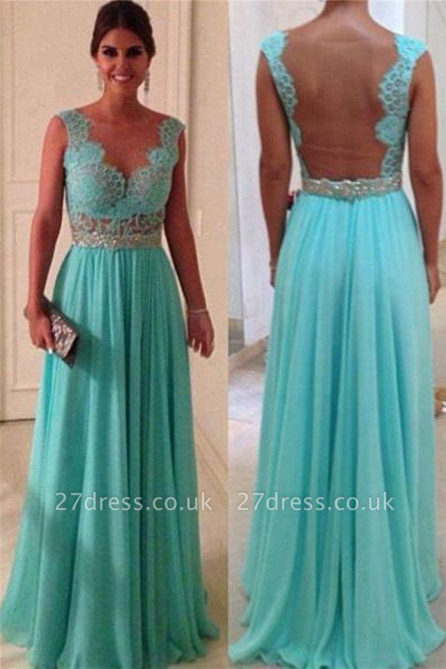 Elegant Lace Sheath Long Evening Dress UKes UK Sweetheart Blue Nude Back Evening gowns with beadings chiffon