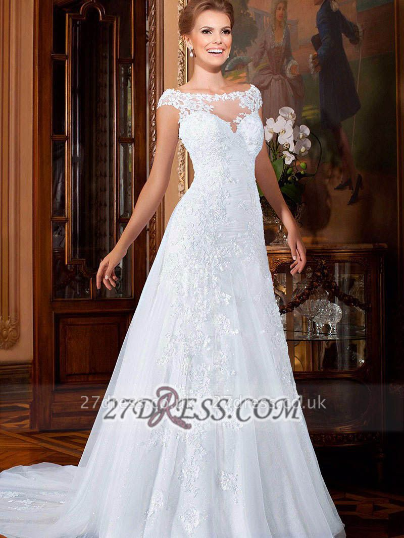 Elegant Illusion Cap Sleeve Tulle Wedding Dress Floor-length With Lace Appliques