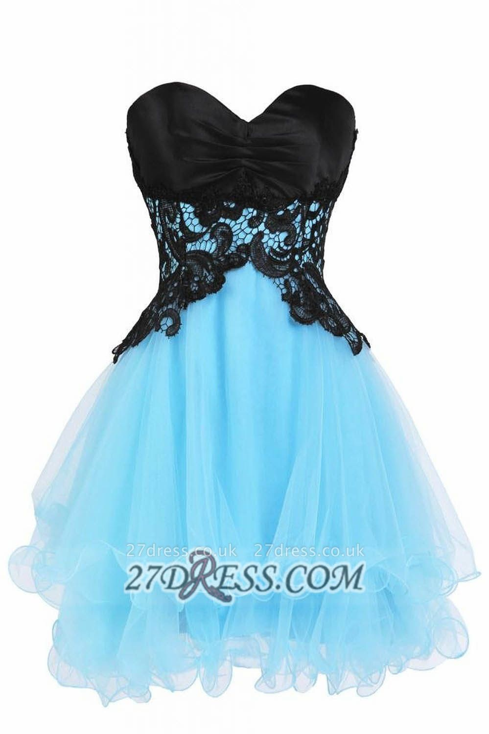 Elegant Sweetheart Sleeveless Cocktail Dress UK With Lace Appliques Lace-up