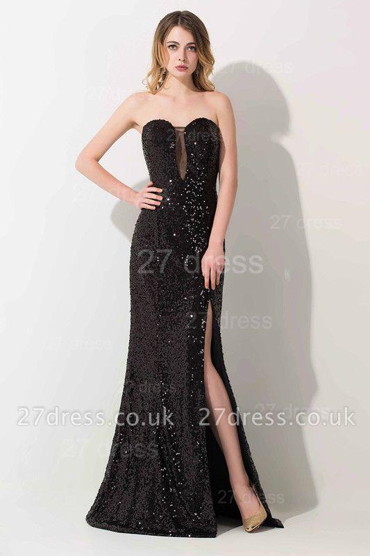 Modern Black Mermaid Sequins Evening Dress UK Front Split
