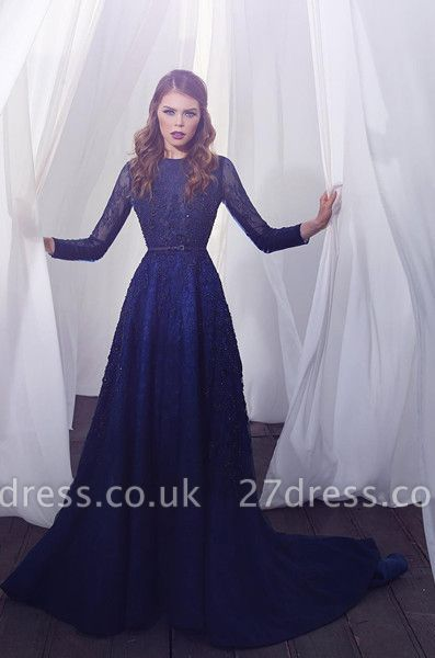 Delicate Beading Long Sleeve Prom Dress UK Lace Long A-line