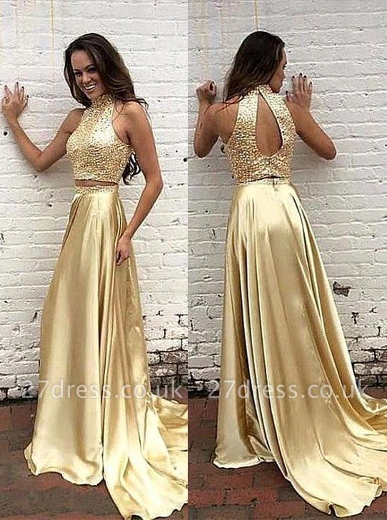 Gorgeous High-Neck two Pieces Prom Dress UK Beads