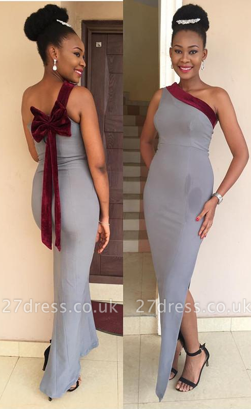 Luxury One Shoulder Mermaid Prom Dress UK Long Bowknot With Slit