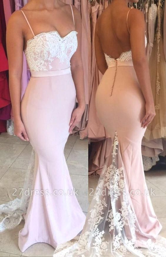 Sexy Spaghteei Strap Mermaid Prom Dress UK Lace Button Evening Gown