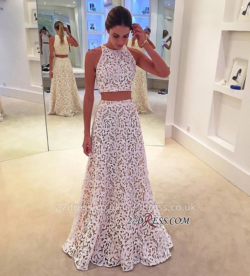 Lace Sleeveless Simple A-line White Two-Pieces Prom Dress UK BA4820