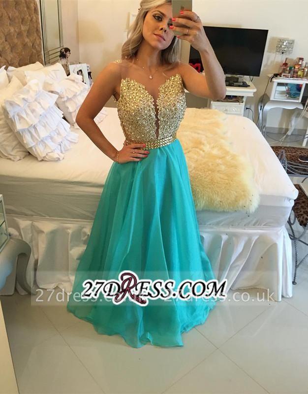 Luxury Sleeveless A-Line Prom Dress UKes UK Appliques Chiffon BA4539
