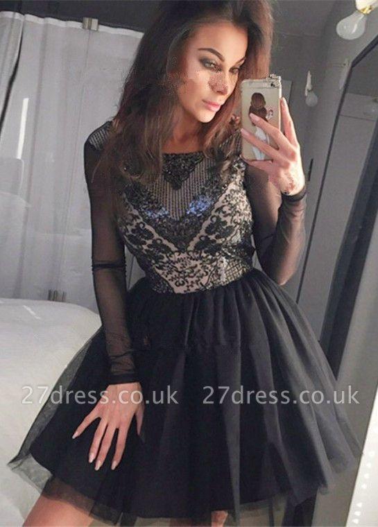 Black Long Sleeve Homecoming Dress UK   2019 Sequins Short Party Dress UK