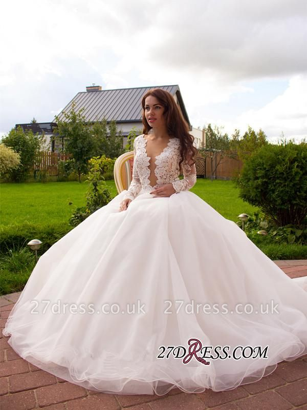 Button Tulle Elegant Princess Long-Sleeve Lace Zipper Wedding Dress