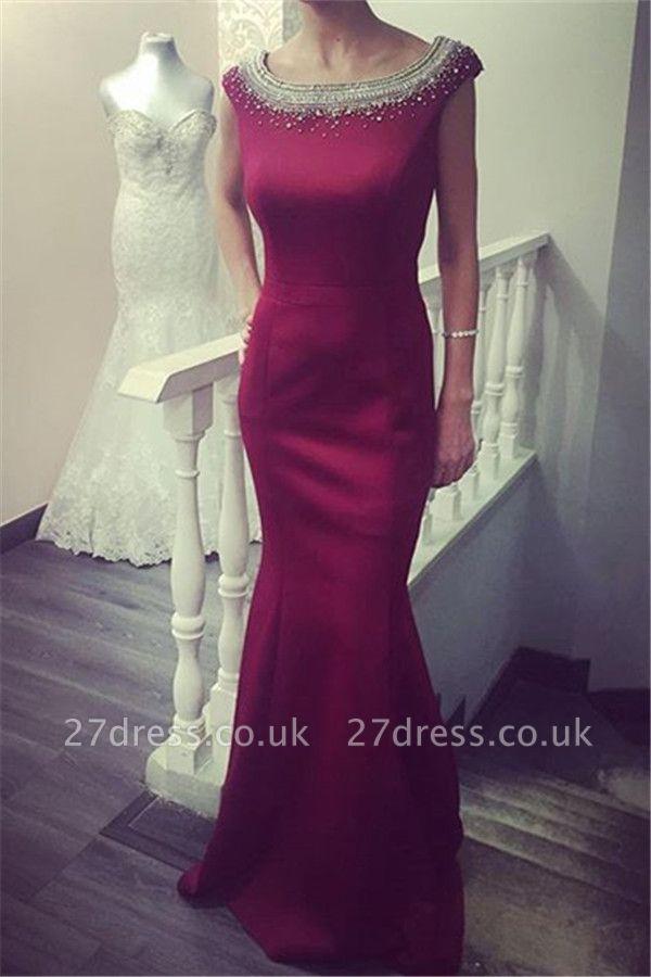 Newest Beadings Ruffles Prom Dress UK Bodycon Jewel Cap Sleeve