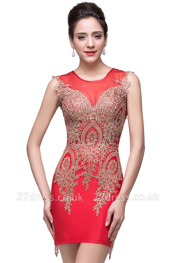 Elegant Red Golden Appliques Sheath Homecoming Dress UK Sleeveless