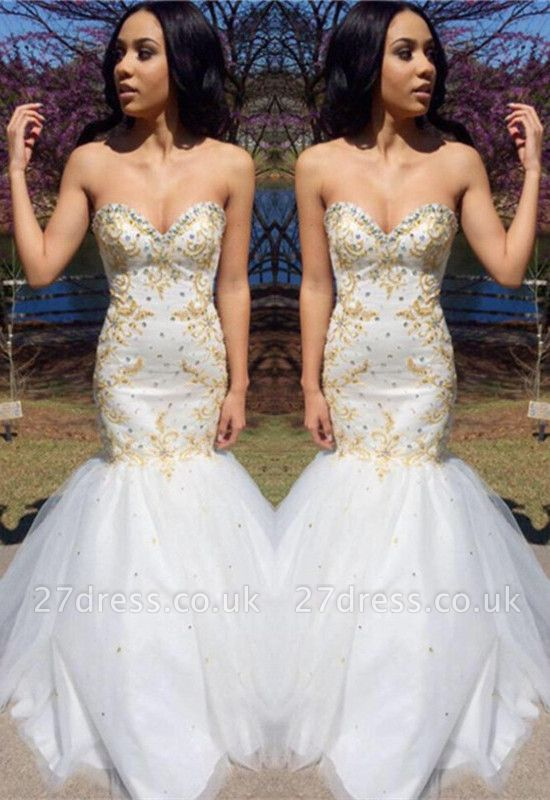 Sweetheart Beadings Prom Dress UK | Mermaid Long Evening Gowns