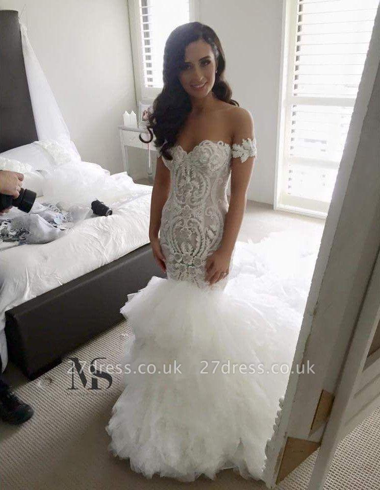 Off-the-shoulder Sexy Mermaid Wedding Dress Long Train With Ruffles