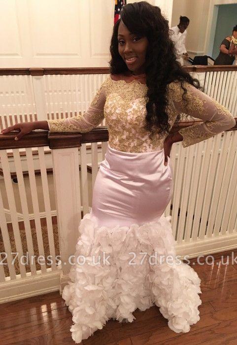 Modern Flowers Lace Long Sleeve Prom Dress UK | Mermaid Evening Gown BK0