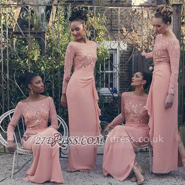 Gorgeous Bateau Long Sleeve Chiffon Bridesmaid Dress UK Floor-length With Sequins