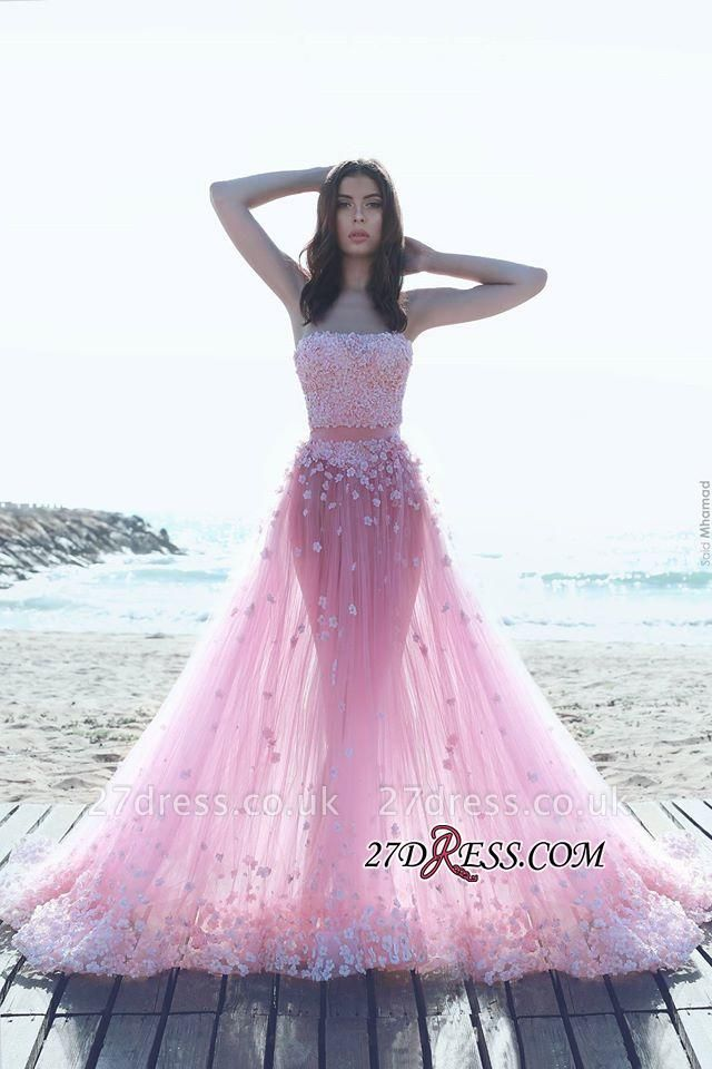Pink Tulle A-Line Strapless Gorgeous Appliques Prom Dress UKes UK