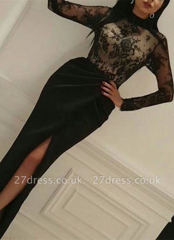 Elegant Black Lace Long Sleeve High-Neck Prom Dress UK With Split