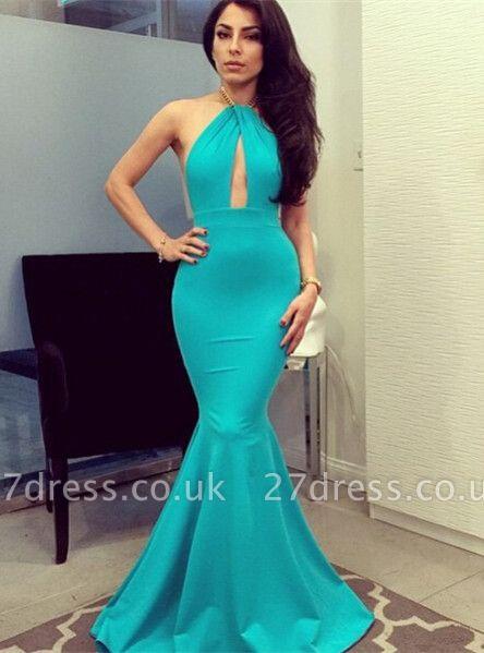Modern Halter Mermaid Evening Dress UK Keyhole Floor Length