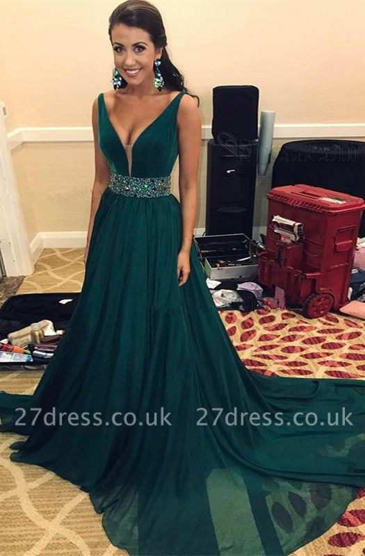 Green V-Neck prom Dress UK | Sleeveless Long Evening Gowns With Crystals