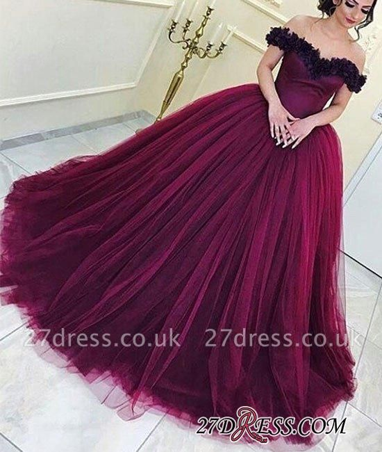 Long Sleeveless Ball-Gown Off-the-Shoulder Tulle Appliques Prom Dress UKes UK