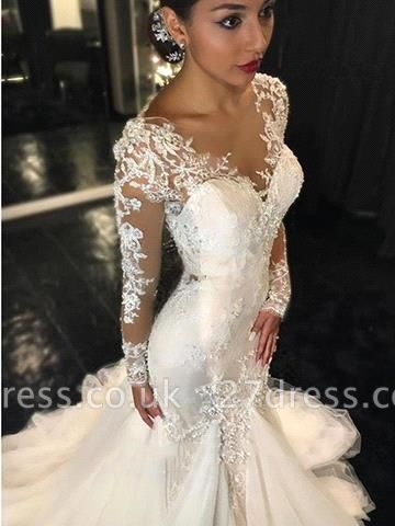Elegant Long Sleeve Lace Wedding Dress Tulle Sexy Mermaid Zipper Button Back