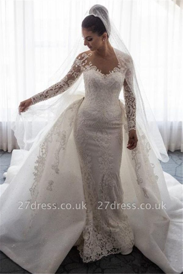 Gorgeous  Sexy Mermaid Lace Wedding Dress with Sleeves | Bowknot Detachable Overskirt Cheap Bride Dress