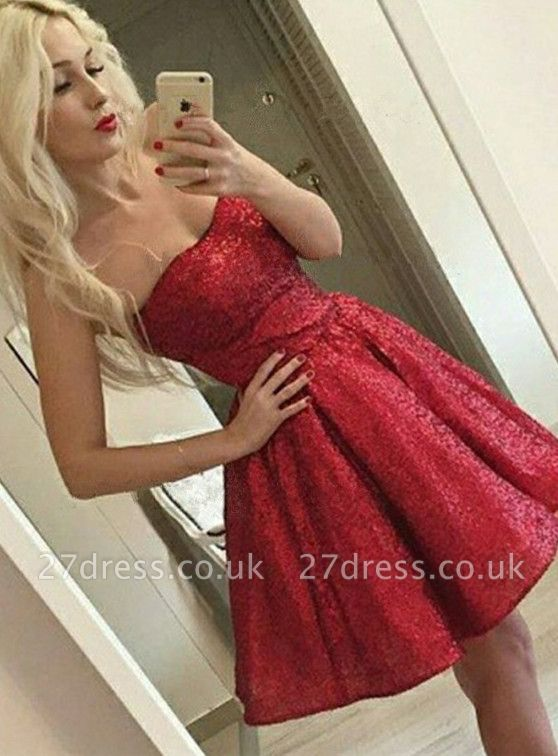 Elegant Red Sequins Homecoming Dress UK   2019 Mini Party Dress UK