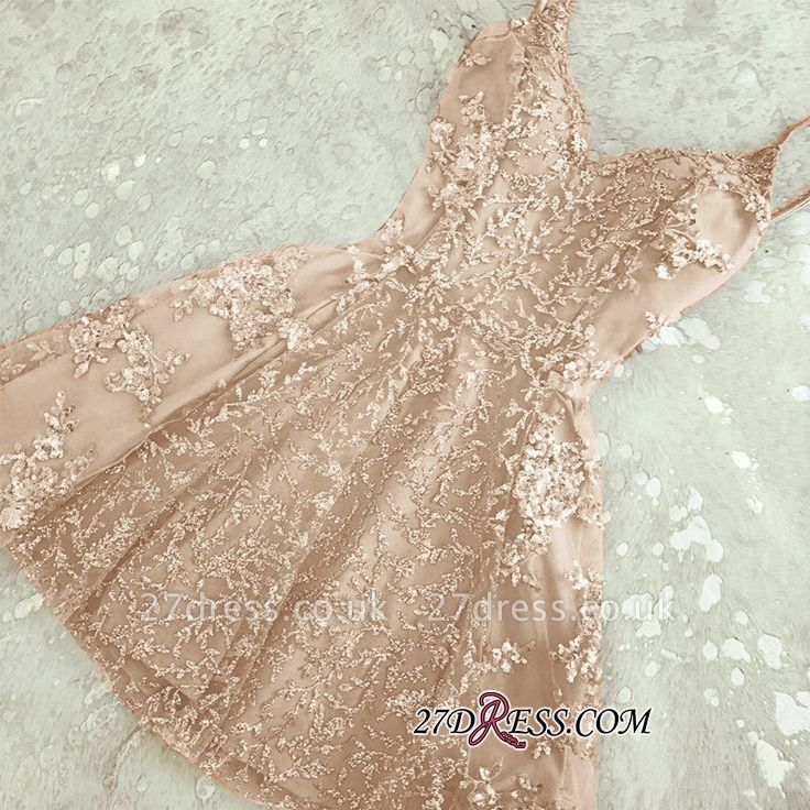 Appliques Spaghetti-Straps A-Line Crystal Sexy Short Homecoming Dress UKes UK