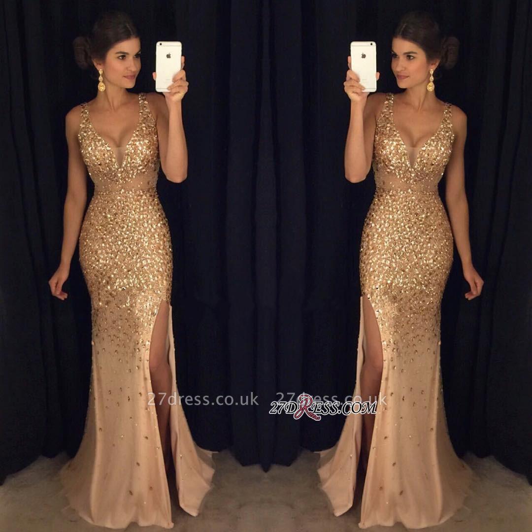 Sleeveless Front-Split Luxury Long Straps Mermaid Crystals Prom Dress UK AP0 sp0229