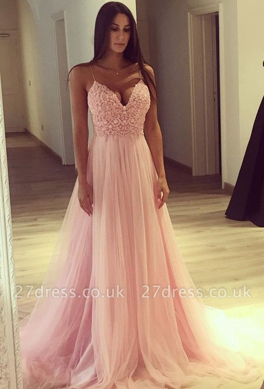 Spaghetti Strap V-Neck Pink Prom Dress UK Long Tulle Party Gowns BA7939