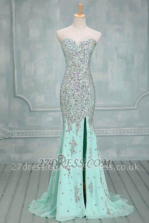 Sweetheart Sleeveless Long Chiffon Evening Dress UK With Beadings and Crystals