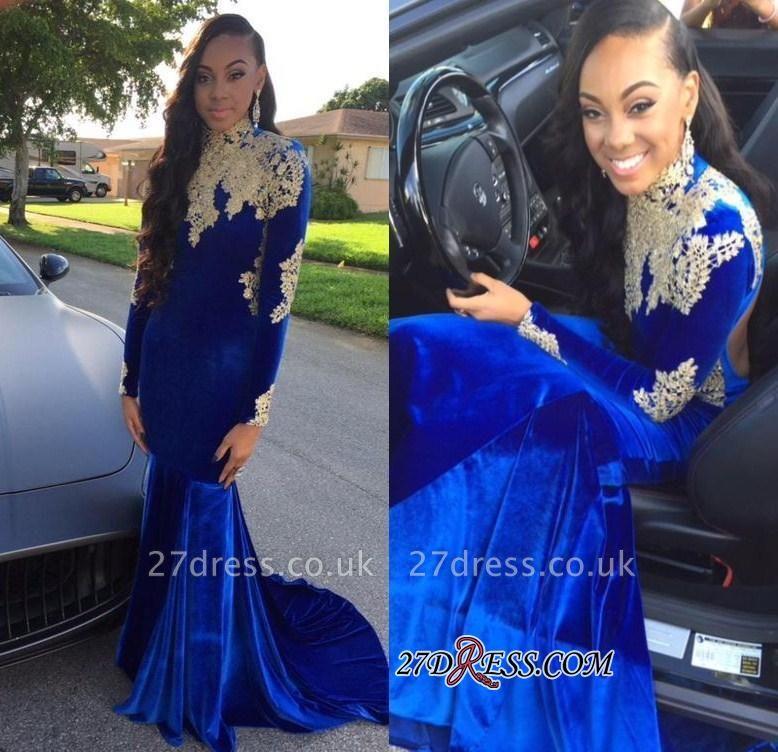 Appliques Sexy Royal-Blue Mermaid High-Neck Long-Sleeves Prom Dress UK BK0