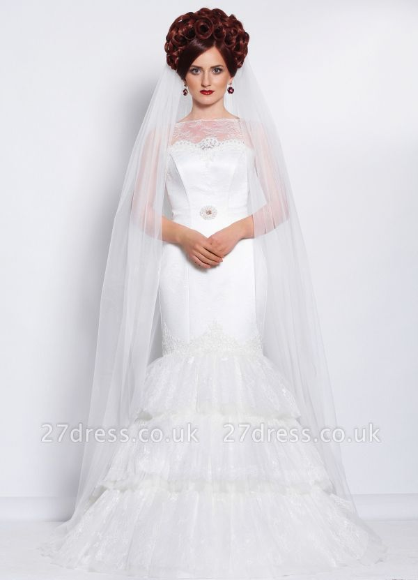 Elegant Illusion Sexy Mermaid Tiered Wedding Dress With Lace