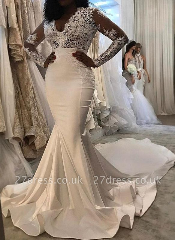 Lace Trumpet/  Sexy Mermaid Wedding Dresses UK | White Chic Wedding Dress