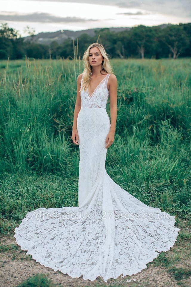 Stunning V-Neck Sleeveless Wedding Dress Full Lace With Train