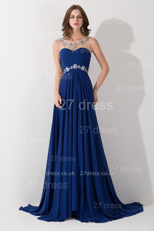 Modern Illusion Chiffon A-line Evening Dress UK Beadings Zipper