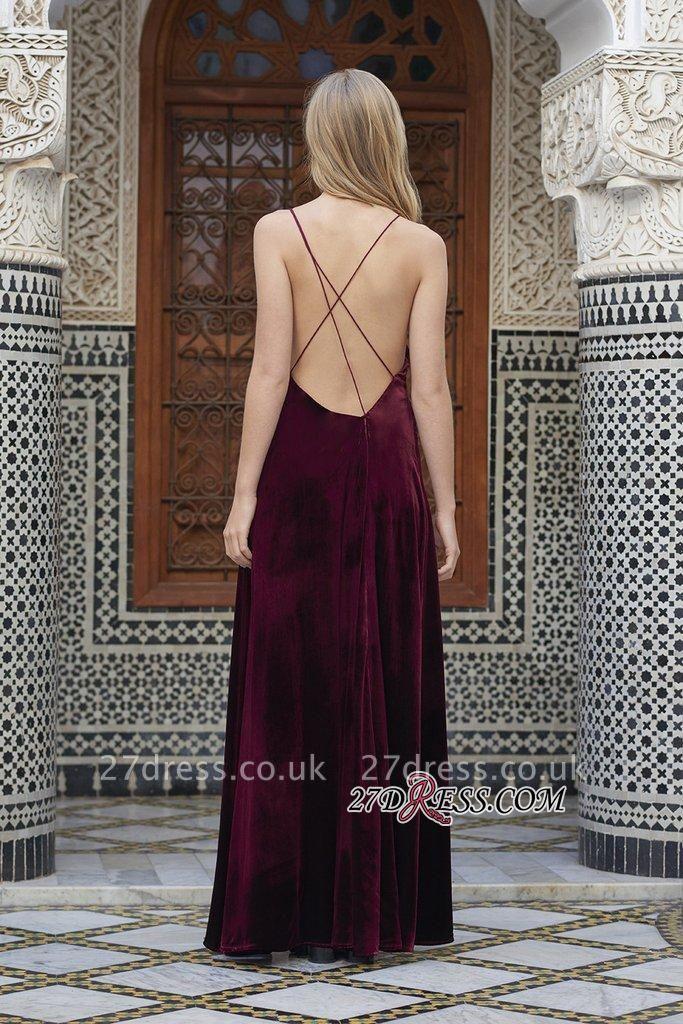 Side-Slit Velvet Maroon Elegant Spaghettis-Straps A-line Evening Dress UK
