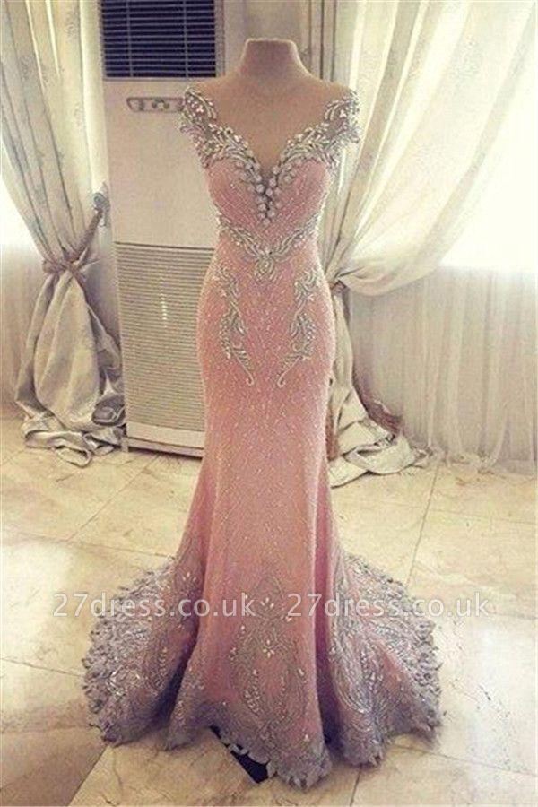 Luxurious Crystal Pink Mermaid Evening Dress UK Zipper Button Back