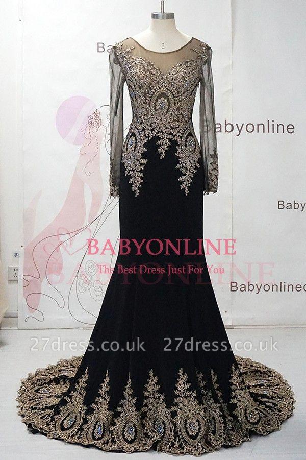 Gorgeous Elegant Black Long Sleeve Appliques Evening Dress UK