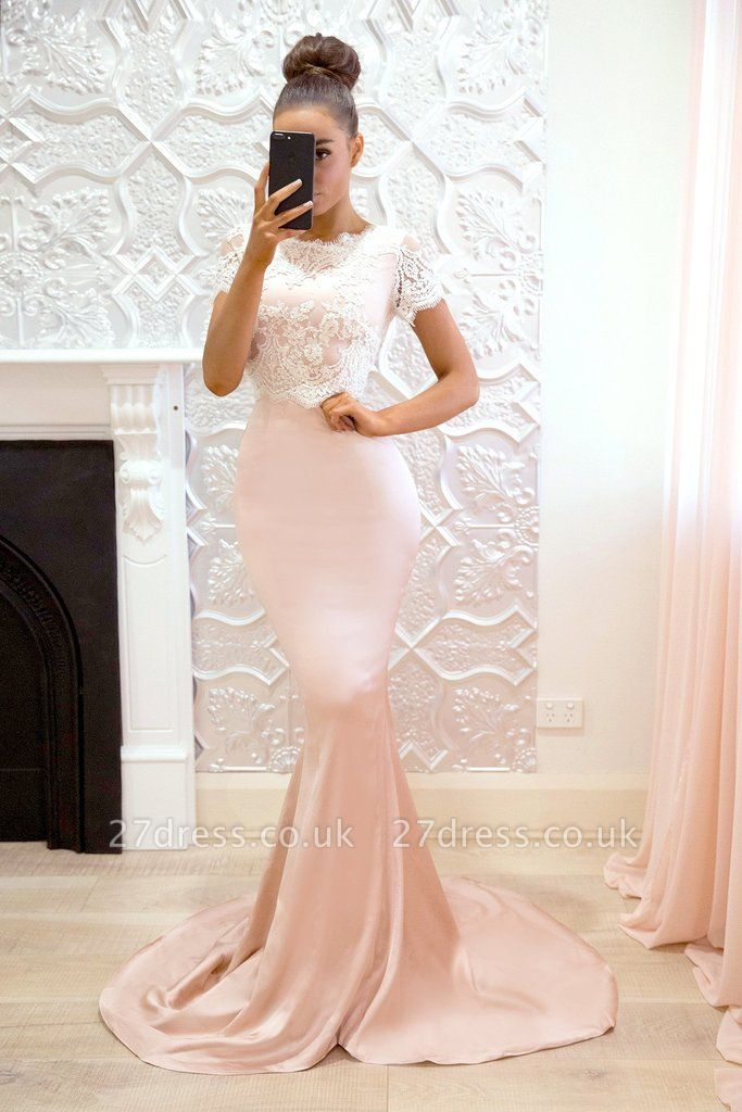 Luxury Short-Sleeve Prom Dress UK | Lace Mermaid Bridesmaid Dress UK On Sale