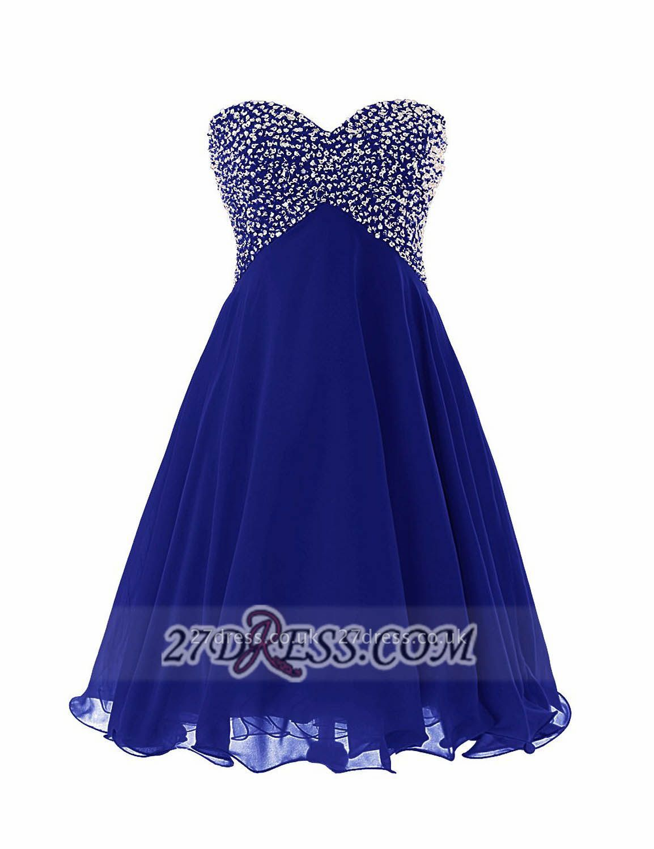 Elegant Sweetheart Sleeveless Short Homecoming Dress UK Lace-up Beadings Crystals Chiffon Cocktail Gown