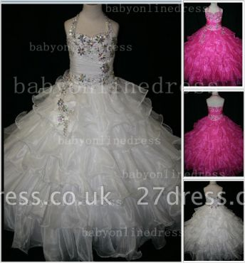 Beaded Cheap Pageant Dresses for Girls Very Online Crystal Organza Floor-length Gowns Stores