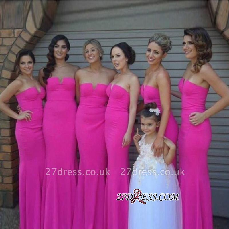 Chic Sleeveless Fuschia Simple Sheah-Column Strapless Biridesmaid Dress UKes UK