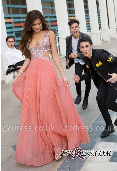 V-Neck Sequins Stunning Beads Long Prom Dress UK
