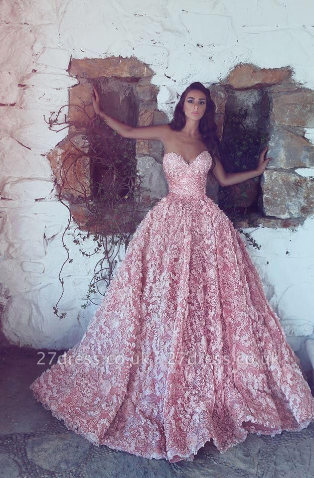 Luxury Sweetheart Pink Prom Dress UK Princess With Appliques